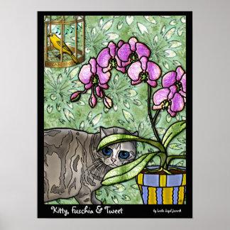 Kitty, Fuschia & Tweet Poster