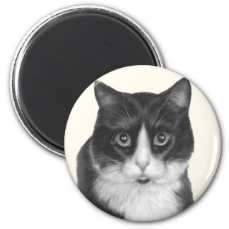 Kitty G., Black and White Cat 2 Inch Round Magnet