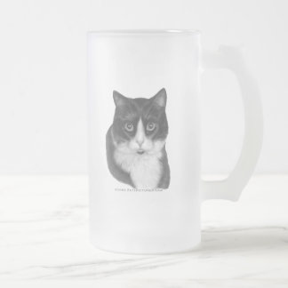 Kitty G., Black and White Cat Frosted Glass Beer Mug
