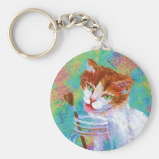 Kitty Getting My Paintbrush Keychains