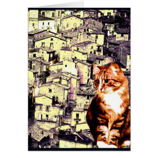 """Kitty Goes to an Italian Village"" Card"