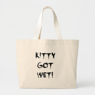 Kitty Got Wet! Tote Bags