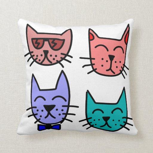 Kitty Throw Pillow : Kitty Graffiti Throw Pillow Zazzle
