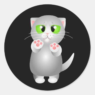 Kitty - Gray Shorthair Round Stickers