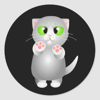 Kitty - Gray Shorthair Round Stickers