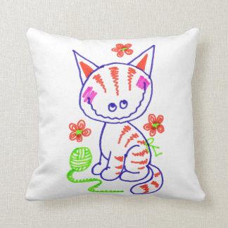 Kitty Grinning (White) Throw Pillow