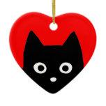 Kitty Heart Christmas Ornaments