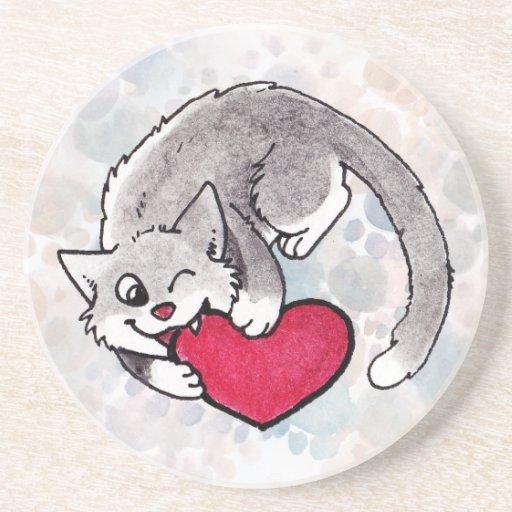 Kitty Heart Coaster