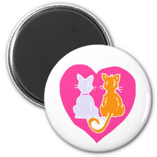 Kitty Hearts 2 Inch Round Magnet