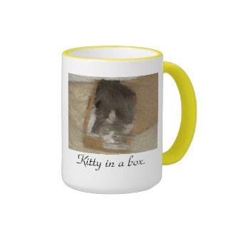 Kitty in a box. ringer coffee mug