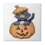 Kitty in a Pumpkin Small Square Tile
