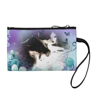 kitty in flowers change purse