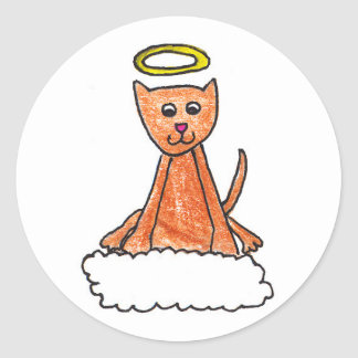 Kitty in Heaven Classic Round Sticker