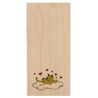 Kitty in Love Wood USB Flash Drive