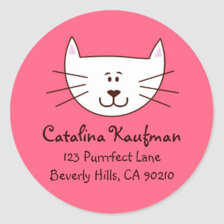 Kitty in Pink Address Labels
