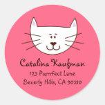 Kitty in Pink Address Labels Round Sticker