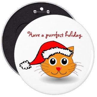 Kitty in Santa Hat Button