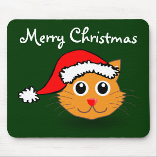 Kitty in Santa Hat Mouse Pad