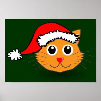Kitty in Santa Hat Poster