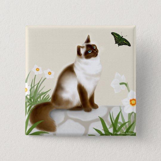 Kitty in the Daffodil Garden Pin
