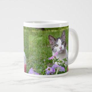 Kitty in the Flowers Jumbo Mug