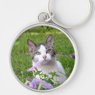 Kitty in the Flowers Key Chain