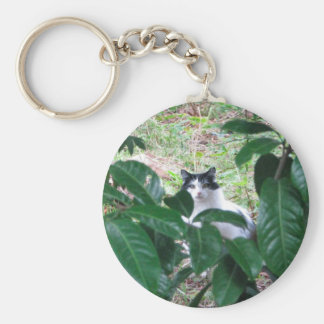 Kitty In The Leaves Basic Round Button Keychain