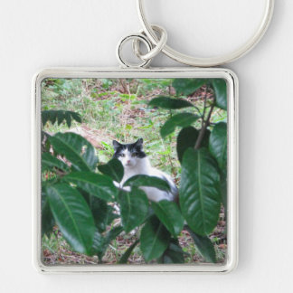 Kitty In The Leaves Silver-Colored Square Keychain