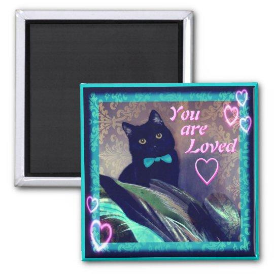 Kitty Inspirations Magnet black cat loved