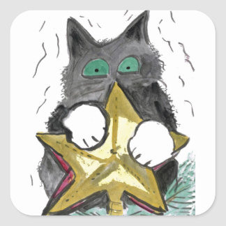 Kitty is at Top of the Christmas Tree Square Sticker
