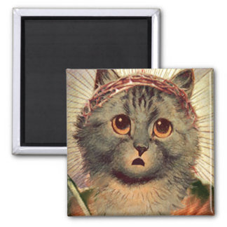 Kitty Jesus with Crown of Thorns 2 Inch Square Magnet