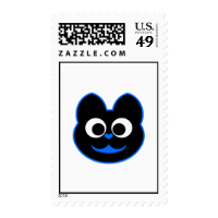 Kitty Kat Blue Postage Stamps