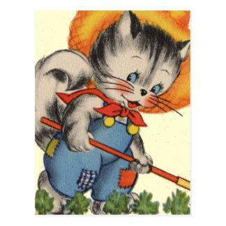 Kitty Kat Gardener Postcard