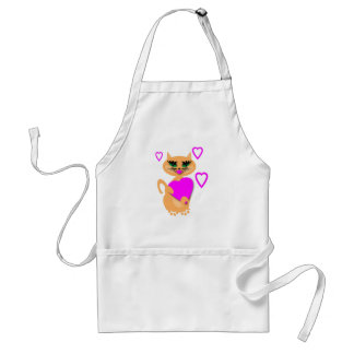 Kitty Kat With Heart Products Adult Apron