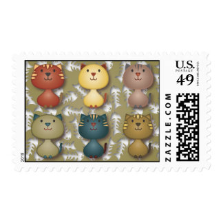 Kitty Kats Green Postage Stamp