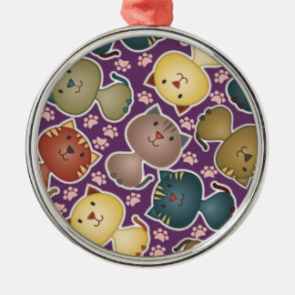 Kitty Kats Purple Premium Round Ornament