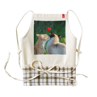 Kitty kiss zazzle HEART apron