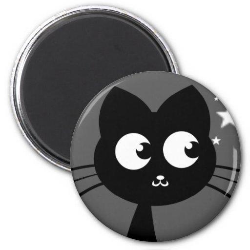 Kitty Kuro Grey Fridge Magnets