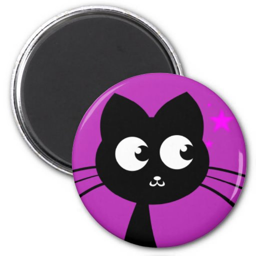 Kitty Kuro Purple 2 Inch Round Magnet