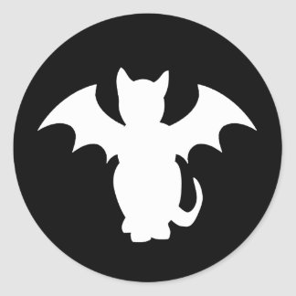 Kitty Lectro Gothic Cat Bat Round Stickers