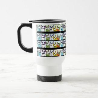 Kitty Lineup-Colorful Cats Travel Mug
