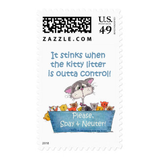 Kitty Litter Stinks Stamps