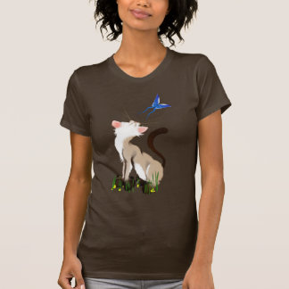 Kitty Looking At A Butterfly T Shirt