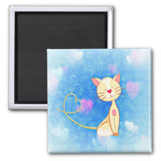 Kitty Love Hearts Blue Magnet