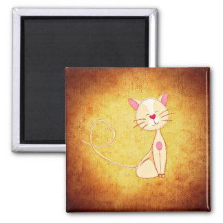 Kitty Love Hearts Yellow Magnet