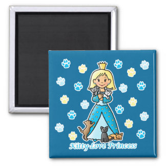 Kitty-Love Princess 2 Inch Square Magnet