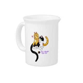 Kitty Love w logo Beverage Pitcher