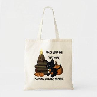 kitty magic books and skull halloween bag