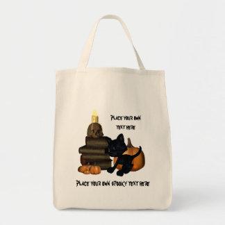 kitty magic books and skull halloween organic bag