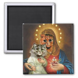Kitty Mary and Jesus with Sacred Hearts 2 Inch Square Magnet